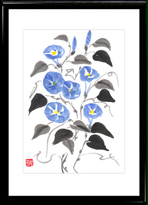 Sumi-e painting Morning Glory