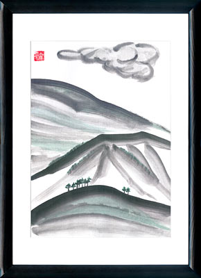 Sumi-e painting Mountains