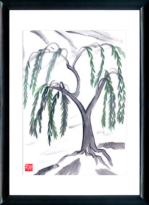 Sumi-e painting Weeping willow