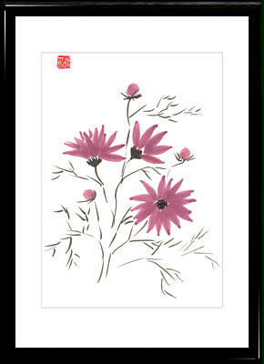 Sumi-e painting Cosmos