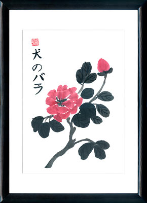 Sumi-e painting Dog Rose