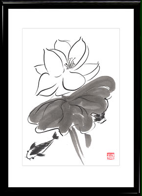 Sumi-e painting Lotus and Fishes