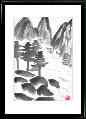 Sumi-e painting River